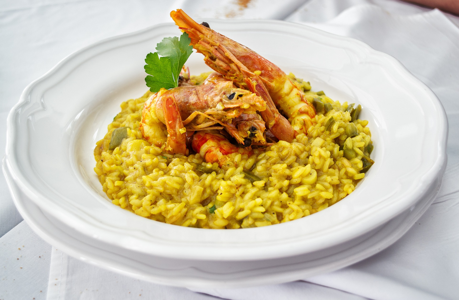 Photo risotto curry et gambas